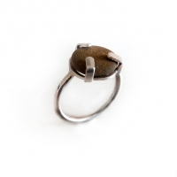 Silver ring with pebble