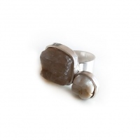 Silver ring with pebble and molar