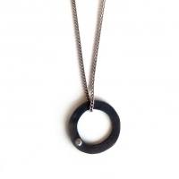 Oxidized silver pendant with nail